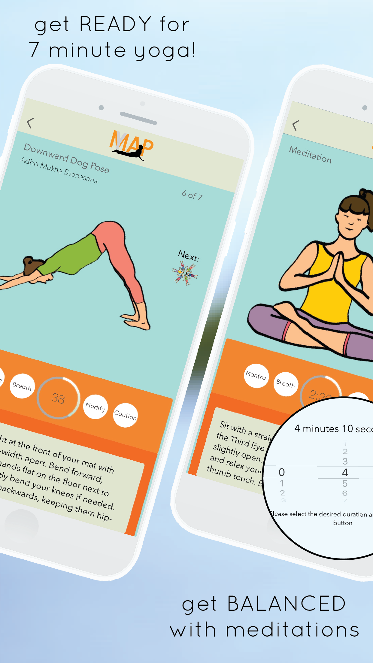 yogamap app - 7 minute yoga exercises, poses, meditation, breath and progress tracking available on the AppStore